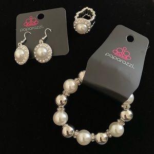 Paparazzi! Earrings,stretch Bracelet & Ring